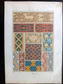 Racinet L'Ornament Polychrome 1873 Design Print. Middle Ages 48